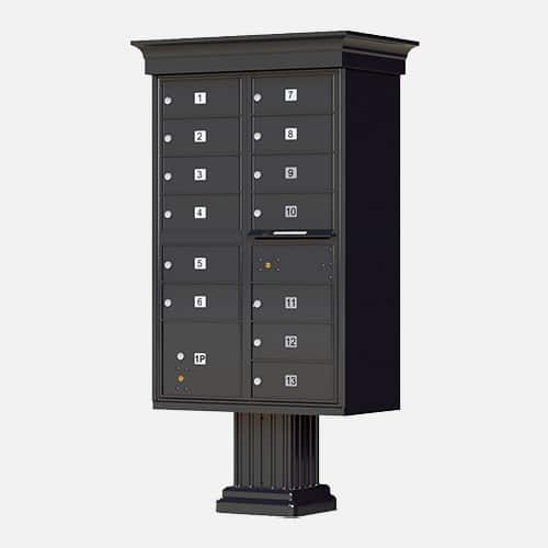 Decorative classic style cluster mailbox and parcel unit for apartment complexes, communities and residential centers. Brandon Industries model CBU-CL-1570-13 comes with 13 tenant boxes and 1 parcel unit.