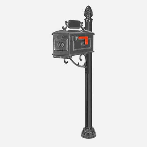 Dual cast aluminum mailbox unit on round pole with decorative brackets and address plaques. Brandon Industries model FAC36-2123-CX.